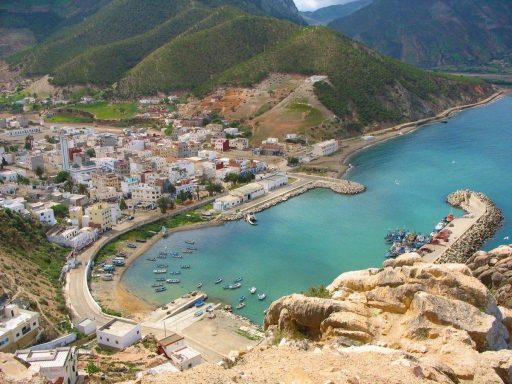 Morocco Mediterranean Beach El Jebha is carved into a rock